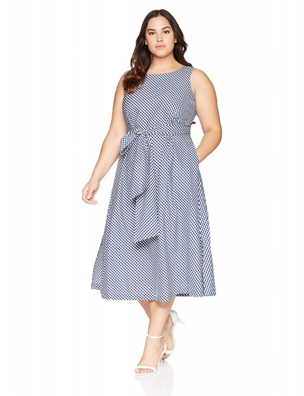 Anne Klein Women's Plus Size Midi Cotton Fit and Flare Dress