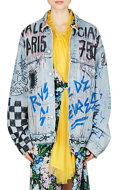 Balenciaga Graffiti-Print Denim Oversized Jacket