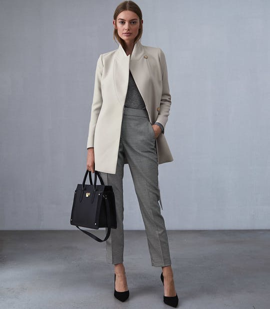 Clarence Satin Faced Belted Jacket Neutral By Reiss