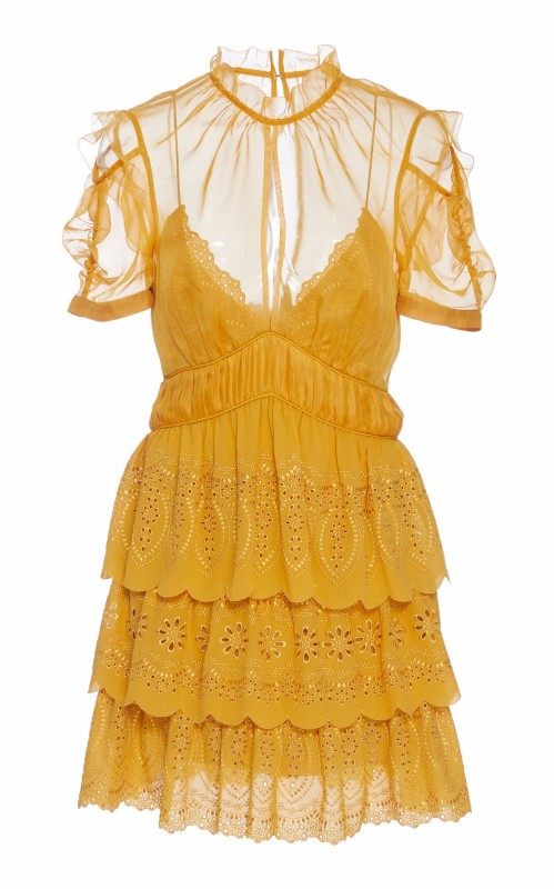 Embroidered Tiered Chiffon Mini Dress, Self Portrait