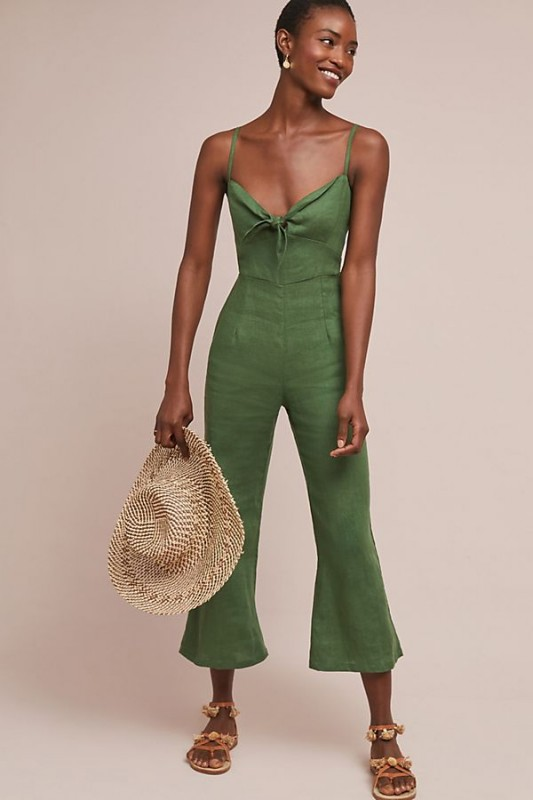 Faithfull Presley Cropped Linen Jumpsuit