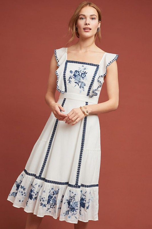Farm Rio Galatea Embroidered Dress