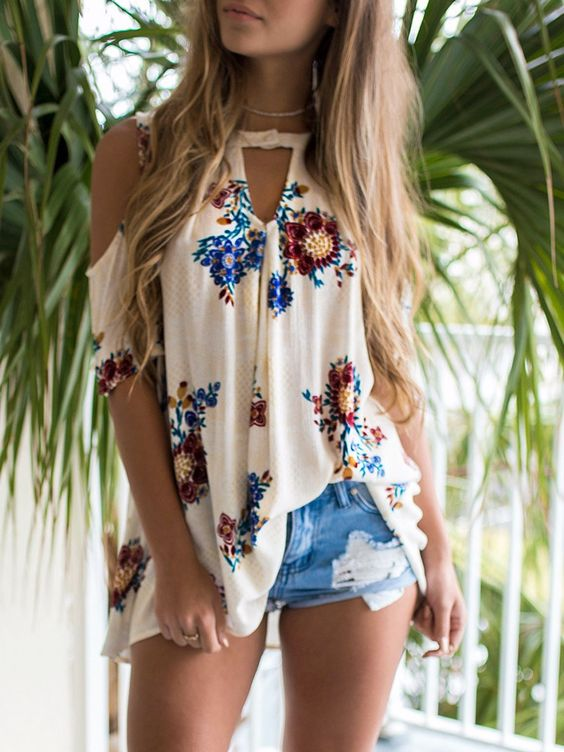 Floral Open Shoulder Cutout Casual Blouse