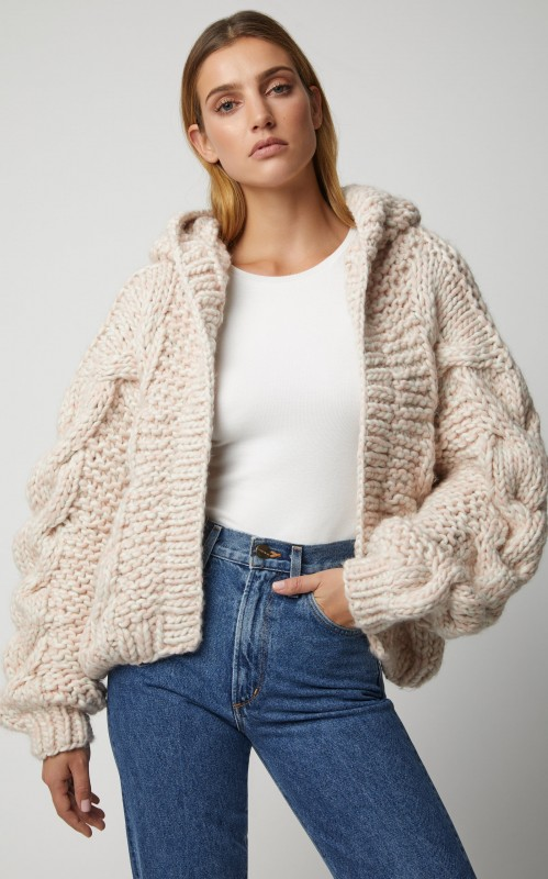I Love Mr. Mittens Hooded Cable-Knit Wool Bomber