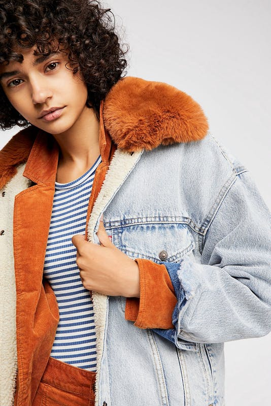 Levi's Oversized Sherpa Trucker Jacket By Free People