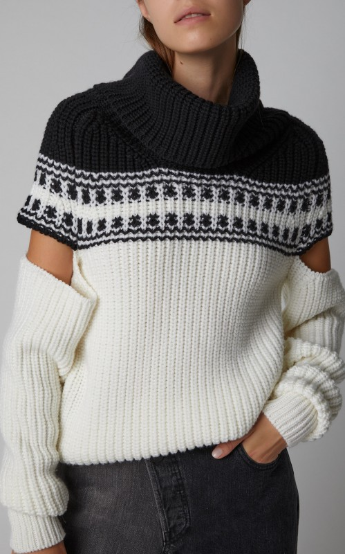 Monse Sliced Fair Isle Wool Turtleneck Sweater