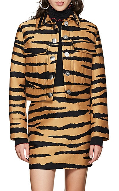 Proenza Schouler Tiger-Pattern Wool-Silk Jacquard Crop Jacket
