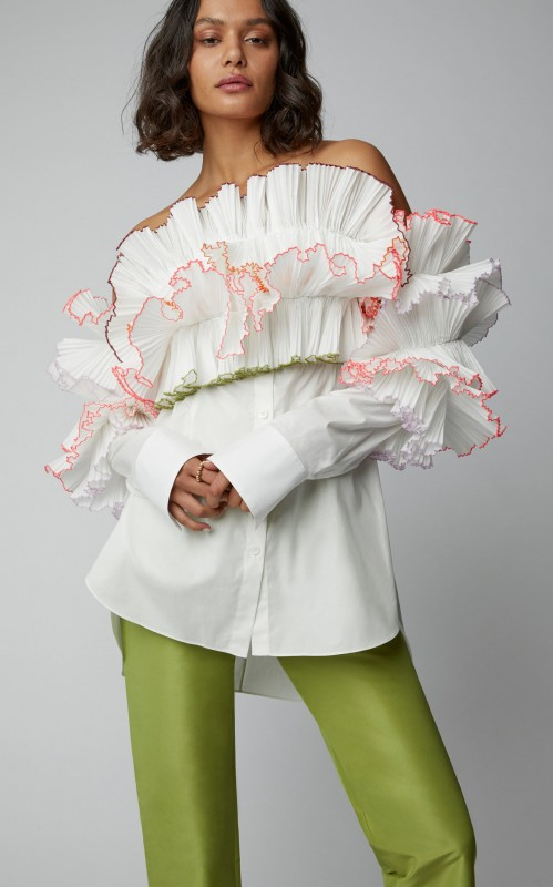Rosie Assoulin M'O Exclusive Off-The-Shoulder Ruffled Poplin Shirt