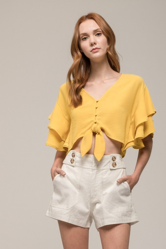 Ruffled Crop Top Whit Front Tie