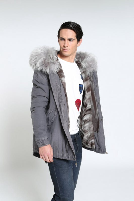 Saline Cotton Canvas Mini Parka With Fur By Mr & Mrs Italy