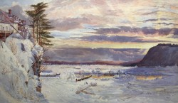 Crossing The Ice By John Arthur Fraser, Watercolor Painting