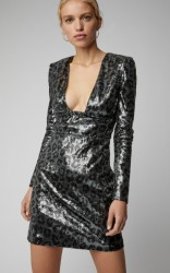 Dundas Cutout Leopard-Print Sequined Mini Dress
