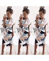 Porala Womens Summer Dresses V-Neck Casual Work Geometric Pattern Midi Floral Print Belted Pencil Dress