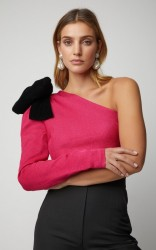 Rebecca de Ravenel M'O Exclusive One-Shoulder Silk Cloqué Top