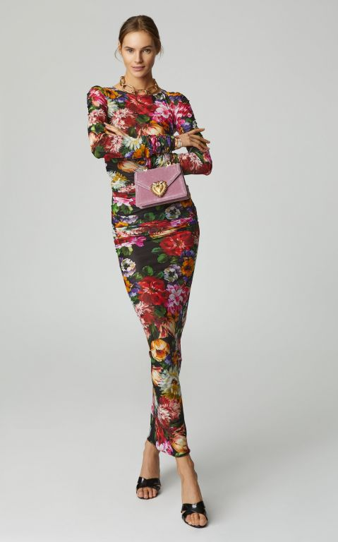 Dolce & Gabbana Floral-Print Ruched Jersey Midi Dress