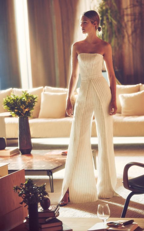 Alexis Charlize Strapless Pinstriped Linen Jumpsuit